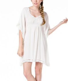 Another great find on #zulily! Off-White Woven Cape-Sleeve Dress #zulilyfinds