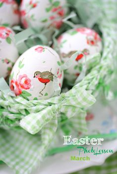 Love the robins and flowers on these Easter Eggs