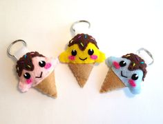 *Happy Ice Cream Cone Keychain* Perfect as a keychain, bag charm, party favors for birthdays, Valentines Day gift or just a little gift to yourself! https://www.etsy.com/shop/FluffedNStuffed