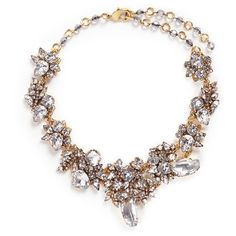 Erickson Beamon 'Valley of the Dolls' Swarovski crystal cluster... ($990) ❤ liked on Polyvore featuring jewelry, necklaces, white, sparkly necklace, handcrafted jewellery, white necklace, swarovski crystals necklace and sparkle jewelry