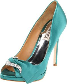 Badgley Mischka GYLDA JADE Open Toe Pump Heels Satin Sparkling brooch & ribbon #BadgleyMischka #PumpsClassics