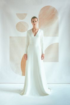 Long sleeve V neck wedding dress Modern minimalist crepe wedding dress Simple A line bridal gown with buttons and long train JOSEPHINE Wedding Dress Buttons, Crepe Wedding Dress, Chiffon Wedding Gowns, A Line Bridal Gowns, V Neck Wedding Dress, Blue Wedding Dresses, Long Sleeve Wedding, Bridal Dresses, Simple Elegant Wedding Dress