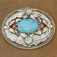 Native-American-Turquoise-Coral-Sterling-Belt-Buckle