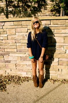 fringe boots & pop of color bangle. She's so cute I wish I could pull this off