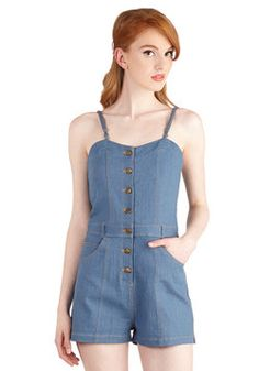 Take the Gambol Romper. There may be a chance of showers in the forecast, but one things for sure  youll look cute in this light-wash denim romper, no matter what! #blue #modcloth