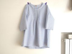 Blue plaid women's  pleated blouse japanese style top.