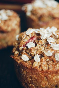 Healthy and scrumptios carrot rhubarb muffins.