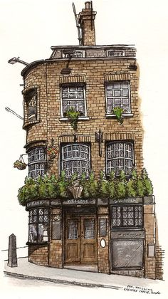 Cheshire Cheese by Pete Skully (http://www.urbansketchers.org/2012/06/urban-sketching-my-favourite-part-of.html)