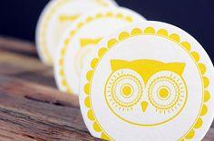 Vintage Owl Retro Letterpressed Paper Coasters by Ruff House Art : Letterpress & Design Stu