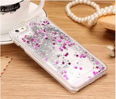Glitter Stars Quicksand Iphone Case Clear Cover For iPhone 4 Iphone 5 Iphone 6 PLUS Flowing Color Glitter Iphone 6 S Plus, Iphone 5c, Apple Iphone, New Iphone 6, Iphone Cases, Shell, Hard Phone Cases, Cellphone Case, Sparkle