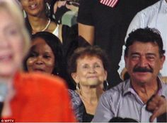 The father of the Orlando nightclub shooter has been spotted sitting behind Hillary Clinton at her rally in Florida. Seddique Mateen, whose son Omar killed 49 people at Pulse nightclub on June 12, was seen grinning as he watched the Democratic presidential nominee speak in Kisssimmee.