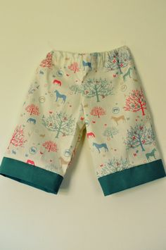 Girls horse tree dog baby or toddler baggies trousers long-shorts in creams and greens 1-2 3-4. $20.00, via Etsy.