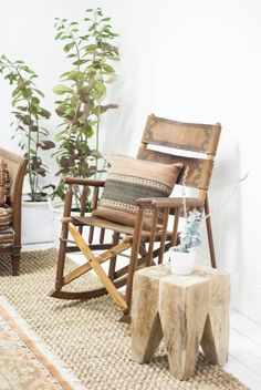 Leather costa rican rocking chair and striped turkish pillow via birch