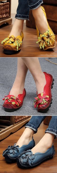 48% OFF! Leather Handmade Flower Loafers Soft Flat Casual Shoes. SHOP NOW!
