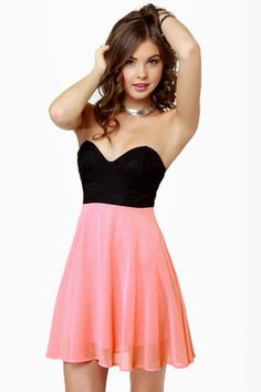Ta-ra-ra Bustier! Black and Peach Dress    Link to buy:   https://www.lulus.com/products/ta-ra-ra-bustier-black-and-peach-dress/60834.html