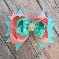 Arrow hair bow - girls hair bow - Gold arrows - Aqua and Coral - hair bow - Stacked bow - Boutique hair bow - hair clip - Toddler bow by BBgiftsandmore on Etsy
