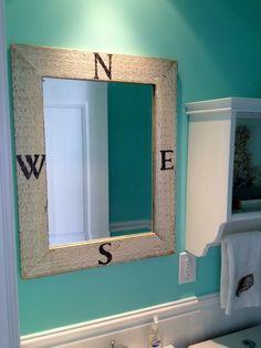 Coastal Compass Mirror Sea inspired treasures for coastal decorating! Nautical Bathrooms, Beach Bathrooms, Modern Bathroom Decor, Upstairs Bathrooms, Bath Decor, Kid Bathrooms, Childrens Bathroom, Bathroom Kids, Pirate Bathroom
