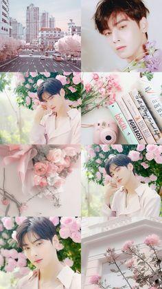 Astro Wallpaper, Pink Wallpaper, Aesthetic Collage, Pink Aesthetic, Cute Couple Wallpaper, Cha Eunwoo Astro, Dream Boyfriend, Seo Kang Joon, Korean People