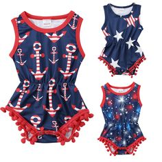 6bc07a94b3a Newborn Infant Baby Girl 4th of July Romper Jumpsuit Summer Baby Girl  Clothes Tassel Star Striped Firecracker Jumpsuit Cotton One-Piece