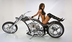 Sexy Daniela on gray streamline chopper