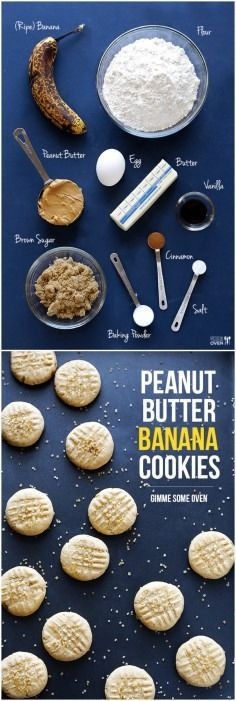 Peanut Butter Banana Cookies - these are easy to make, and taste like a cross between banana bread and peanut butter cookies!! |