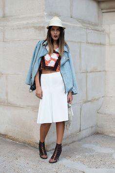 denim jacker, crop top, white skirt