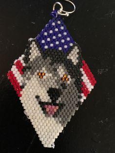 Patriotic Smiling Wolf Hand Beaded Earrings by FaeryWolfsFancies