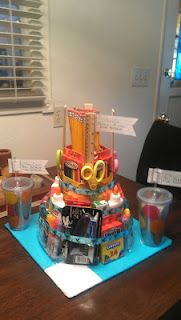 School Supply Cake. Here is the Teacher gift I made FULL of school supplies for the kids.