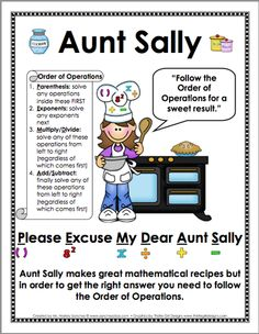 Here's a poster for remembering order of operations. Download title is Math Poster - Aunt Sally.