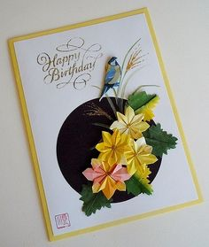 Paper Greeting Card 3 Photos | Origami Chrysanthemum and Bird | 504