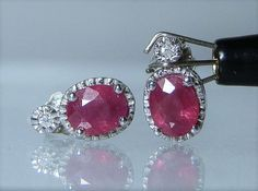White Gold Ruby Earrings 14k White Gold Natural Ruby with Diamond Accents Post Style Stud Earrings Oval Cut Gemstones DanPickedMinerals