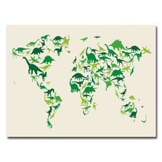 Trademark Fine Art Michael Tompsett -inDinosaur World Map Canvas Art at Lowe's. This ready to hang, gallery-wrapped art piece features a world map of dinosaurs. World Map Art, World Map Canvas, Dinosaur Silhouette, Ouvrages D'art, Art Graphique, Mondrian, Canvas Prints, Art Prints, Canvas Artwork
