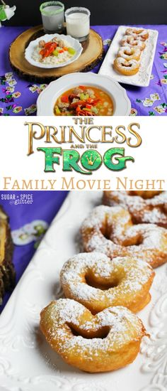 Princess & the Frog Disney Family Movie Night with easy decor, craft and menu ideas. Grab your free printable planning sheet for your own family movie night and get some inspiration! Movie Princess & the Frog Movie Night ⋆ Sugar, Spice and Glitter Disney Themed Food, Disney Inspired Food, Disney Food, Disney Recipes, Disney Drinks, Movie Night Snacks, Night Food, Family Movie Night, Movie Night Basket