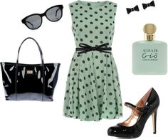 """Mint Polka Dot"" by jbon on Polyvore"