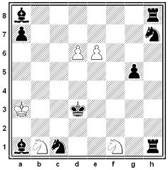 By O. Wurzburg, 1919. If Black does not move at all, in how few moves can the white king reach f4? White can move only his king; as in regular play, it can capture enemy pieces but cannot enter check.