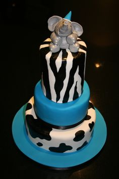 Cake: Animal Print / zebra/ cow/ elephant.  I loved this cake but had painted on the patterns ... It meant that there were a few black tongues on eating...oooops!