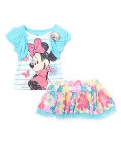 Look what I found on #zulily! Blue Minnie Mouse Top & Skirt - Toddler & Girls #zulilyfinds