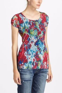 Anthropologie-Weston-Wear-Mesh-Sprouted-Peplum-Blouse-Flounced-Pullover-Top-S