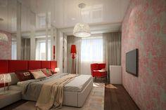 chambre à coucher adulte, papier peint à arabesques roses, tête de lit en rouge et sol en parquet massif