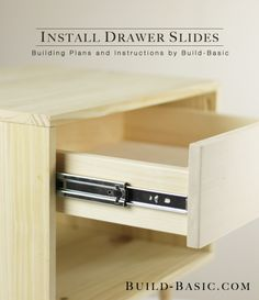 The EASY way to install drawer slides. Instructions and SxS images by Build Basi. Diy Wood Projects, Furniture Projects, Furniture Plans, Diy Furniture, Furniture Design, Building Drawers, Building Furniture, Woodworking Crafts, Woodworking Plans