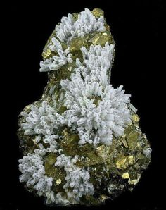 Calcite crystals coated with Quartz on golden Chalcopyrite