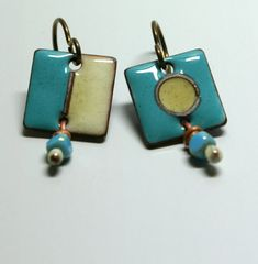 Torch fired enamel earrings, watercolor, on and off, digital on Etsy, $55.00