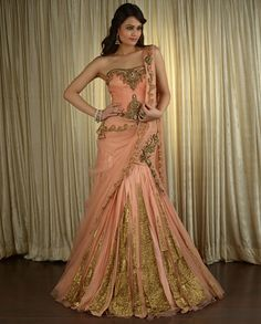 peach lengha wedding