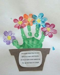 Cute idea for Mother's day. we did this with our grade students this year and I took the idea home this was my 3 year olds flower pot. Great for grandparents or even a personal touch for end of school gifts. Handprint art that is easy for kids, fing Daycare Crafts, Sunday School Crafts, Classroom Crafts, School Gifts, Baby Crafts, Crafts To Do, Arts And Crafts, Crafts For 2 Year Olds, Student Gifts