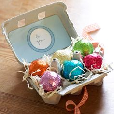 Easy Easter Tote  Treat the Easter hostess to a little pampering. Fill an empty egg carton with fizzy bath balls for a thoughtful Easter gift. Cover the carton top with pretty paper and tie with ribbon