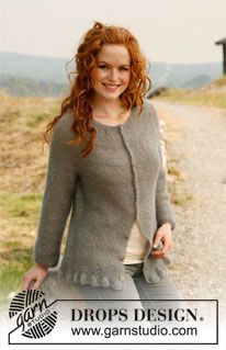 """Knitted DROPS jacket with raglan, round yoke and flounce in 2 threads """"Kid-Silk"""" or 1 thread """"Vivaldi"""". Size: S - XXXL. ~ DROPS Design. Check out the drops sight as well for patterns exceptional!"""