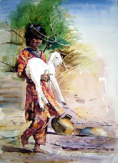 Child and goat - Watercolor on Arches Paper  SOLD