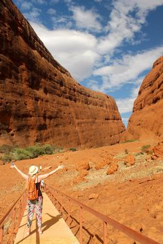 Walking through Walpa Gorge in Kata Tjuta (The Olgas) in the Red Centre, Nothern Territroy, Australia. A short but very hot walk.
