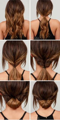 LuLu*s How-To: Simple Chignon Hair Tutorial(Curly Hair Styles) Five Minute Hairstyles, Easy Summer Hairstyles, Haircuts For Long Hair, Quick Hairstyles, Hairstyles 2016, Simple Everyday Hairstyles, Hairstyle For Long Hair, Low Pony Hairstyles, Braided Hairstyles