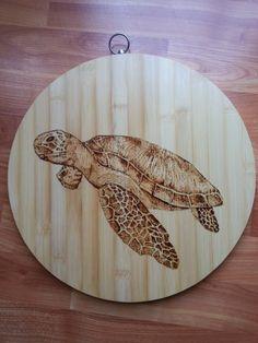 wall hanging sea turtle wood burning bamboo cutting board by NeptuneMoonVa on Etsy